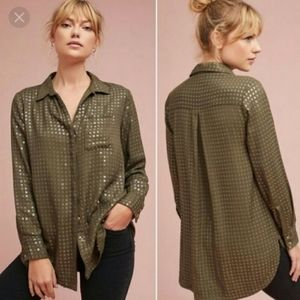Anthropologie Maeve olive green sequined button up